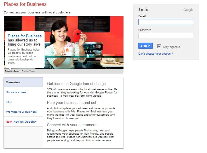 Google maps business center http www google com places gets you